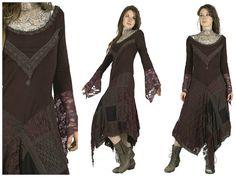 Robe longue marron chocolat fée gypsy bohème avec par BaliWoodShop