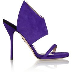 Paul Andrew Nya suede sandals ($378) ❤ liked on Polyvore featuring shoes, sandals, purple, high heel shoes, suede shoes, purple suede shoes, purple shoes and round toe shoes