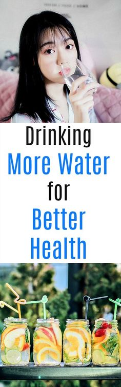 Drinking More Water for Better Health. Because your body is made up of 70% water and your brain is 90% water, you need water to function properly.  #water  #health