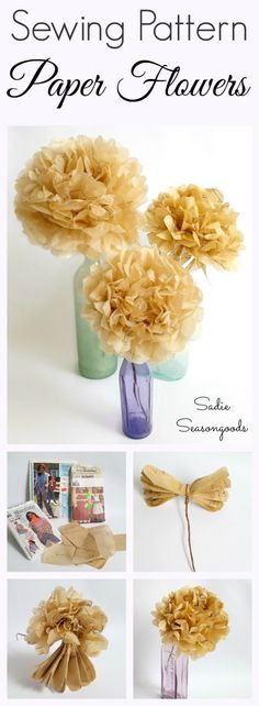 Vintage sewing patterns from the thrift store are perfect to repurpose and upcycle into seasonal tissue paper flowers that fit in with any home decor look! They're an easy DIY craft project that anyone can make, and are an inexpensive way to add farmhouse style on a thrifty budget! #SadieSeasongoods / www.sadieseasongoods.com