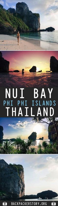 Nui Bay is located on Koh Phi Phi Don, north of Loh Dalum Beach. How to get to Nui Bay: Nui Bay can be accessed by 3 methods: Hiring a longtail boat, Travel Deals, Travel Guides, Travel Destinations, Travel Tips, Phi Phi Island, Travel Memories, Adventure Is Out There, Thailand Travel, Outdoor Camping