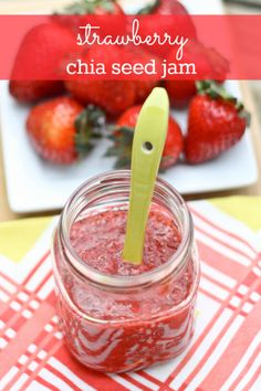 Easy Strawberry Chia Seed Jam 1 cup of strawberries 1 tablespoon of chai seeds 1 tablespoon of water Stevia to taste