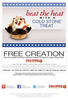 Second ice cream free at Cold Stone Creamery coupon via The Coupons App