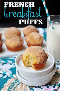 French Breakfast Puffs ~ sweet, tender muffins dipped in butter and cinnamon sugar...perfect for a special holiday breakfast!   {Five Heart Home}
