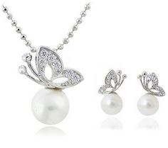 Pearl & Butterfly Crystal Necklace and Earrings Set