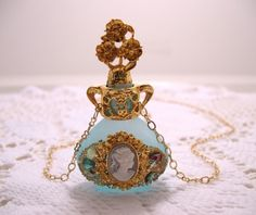 Blue Frost Perfume Bottle Cameo Necklace