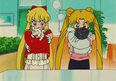 """have you ever noticed how sailor moon and sailor venus are practically the same people - """"Sailor Moon S"""" - Minako and Usagi """"lovingly"""" squeezing the life out of Artemis and Luna. Sailor Moon Gif, Sailor Moons, Sailor Jupiter, Sailor Moon Crystal, Sailor Venus, Arte Sailor Moon, Sailor Moon Wallpaper, Sailor Scouts, Sailor Moon Aesthetic"""