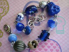 Blue Skulls Charm Bracelet by jansbeads on Etsy, $15.00