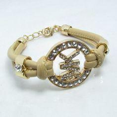 4a79b7eb2b60 Michael Kors Rhinestone Leather Bracelet Beige Michael Kors Bracelet