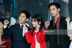 South Korean actors Lee Jun-Ki (Lee Joon-Gi), Lee Yu-Bi and Lee Soo-Hyuk attend the press conference for MBC Drama 'The Scholar Who Walks The Night' on July 07, 2015 in Seoul, South Korea.