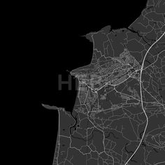 Weston-super-Mare Area Map in dark shaded version with black shapes for water and many details for high zoom levels. This map of Weston-super-Mare,  E... ... #download #map #infographic  #marketing #travel #beautiful #map #communication #design #background #hebstreit