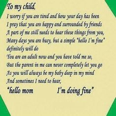 To my child
