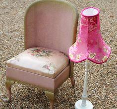 Chair - pink silk Lloyd Loom