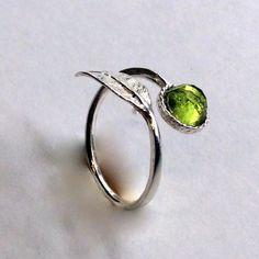 Twig ring, leaf ring, silver ring, gemstone ring, peridot ring, branch ring, nature ring, dainty ring, toe ring - Gone with the wind R2062-2 by artisanlook on Etsy https://www.etsy.com/listing/238396529/twig-ring-leaf-ring-silver-ring-gemstone