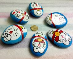 New Hand Painted Creative Folk Art Stone Doraemon For Gifts Collection