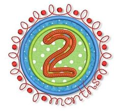 Doodle NUMBERS Monthly Milestones SET  4x4 5x7 Machine Embroidery Design Lynnie Pinnie