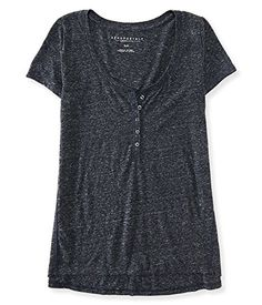 Aeropostale Women's Boxy Henley Shirt -- Visit the image link more details.