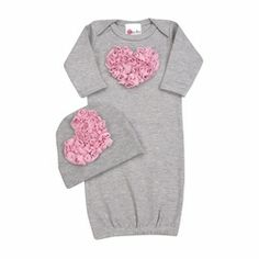 Baby Girl Bundle of Love Pink and Grey Layette Set Going Home Outfit, Take Home Outfit, Baby Outfits Newborn, Baby Girl Newborn, Designer Baby Clothes, Baby Gown, Cute Baby Girl, Baby Girls, Pink Love