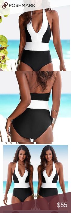 White Black Color Block Slimming One Piece NWT This is a great looking bathing suit.  It is so figure flattering.  Very comfortable. Made of poly Spandex it moves with you.  It is true to size.  Please see chart.  If your size is not listed let me know and I will order for you.  All reasonable offers always considered.  % of sales goes to Breast Cancer Awareness and ACS research.  Thank you fir helping us help them.  Xoxo Curvy Couture Swim One Pieces