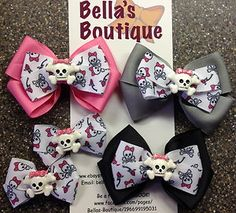 rockabilly bows | Skull Crossbone Emo Rockabilly Boutique Bow Hair Clip Pigtails Pink ...