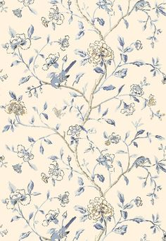 5004401 Schumacher Wallpaper pattern name Annabelle Vine. Mahones Wallpaper Shop only sells quality no second hand materials with full manufacturer guarantee. Bird Wallpaper, Kitchen Wallpaper, Wallpaper Size, Wallpaper Samples, Print Wallpaper, Fabric Wallpaper, Wallpaper Roll, Foyer Wallpaper, Chinoiserie Wallpaper