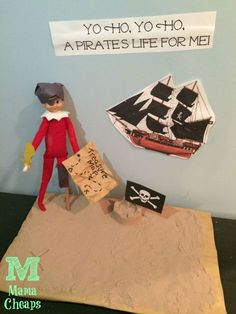 Elf Pirate!  This is the ULTIMATE list of ideas for Elf on the Shelf!! http://www.mamacheaps.com/elf-on-the-shelf-ideas