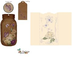 Roses & butterflies filled mason jar Tag Kit Free-download