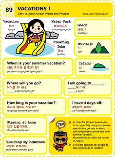 89 Learn Korean Hangul Vacations 1
