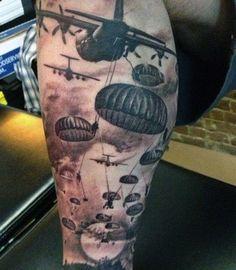 Manly Airborne Mens Parachute War Themed Tattoos On Leg