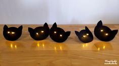 Fekete macskák világító szemekkel - Halloween ötlet