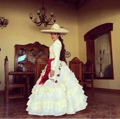 "Traditional ""Charra"" wedding dress from Jalisco, México."