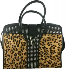 "Marc Gold Leather Leopard Tote. Leopard tote bag with interior pockets with metal studs and hardware. Materials: Embossed with 100% PU on the exterior and 40% rayon 60%cotton on interior. Colors: Black/Silver/with Leopard print. Measures: 10.5"""" x 14""""."" Sold Individually Please note: If there is a color/size/type option, the option closest to the image will be shipped (Or you may receive a random color/size/type)."