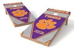 Clemson Tigers Single Cornhole Board - Burlap