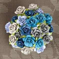 """Items similar to SALE CLEARANCE off : Prima Mini Sachet """"Surf"""" Sea Blue Flowers 565985 Mini Paper Roses Bud in wire embellishments decoration Wedding on Etsy Online Craft Store, Craft Stores, Prima Marketing, Joanns Fabric And Crafts, Paper Flowers, Surfing, Paper Crafts, Scrapbook, Crafty"""