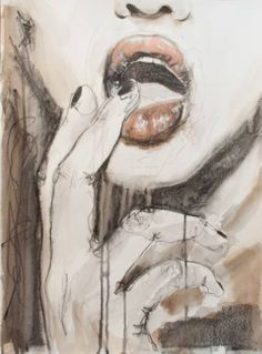 "Saatchi Art Artist Sonja De Graaf; Drawing, ""A curl of pink rubber rolled up in her beak"" #art"
