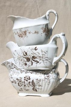 old antique brown transferware china collection, sauce pitchers & gravy boats Antique China, Vintage China, Gravy Boats, Dish Display, Decorated Jars, Plate Design, Shabby Chic Kitchen, Vintage Dishes, China Patterns