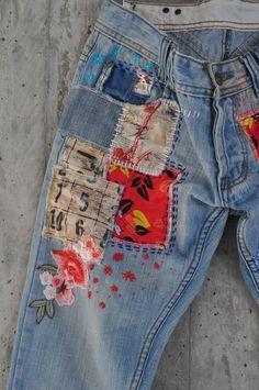 ✔ Cute Things To Paint For Boyfriend Diy Jeans, Jeans Levi's, Patched Jeans, Jeans Button, Jeans Refashion, Levis Vintage, Jean Vintage, Levis 501, Artisanats Denim