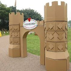 Castle made by carton box Cardboard City, Cardboard Castle, Cardboard Crafts, Cardboard Houses, Medieval Party, Medieval Crafts, Activities For Kids, Crafts For Kids, Diy Playground
