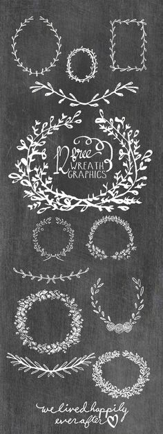 12 Free Wreath Graphics 12 Free Wreath Graphics- these would be perfect for posters, Christmas Cards, Thanksgiving Place-cards and more! Do It Yourself Baby, Illustration Noel, Cricut Fonts, Up Book, Silhouette Cameo Projects, Free Graphics, Cricut Creations, Chalkboard Art, Vinyl Projects