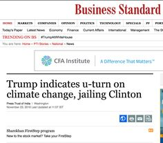 """(EnviroNews DC News Bureau) -- EDITORIAL: On Nov. 6, 2012, President-Elect Donald Trump tweeted, """"The concept of global warming was created by and for the Chinese in order to make U.S. manufacturing non-competitive."""" Throughout his campaign, he r"""