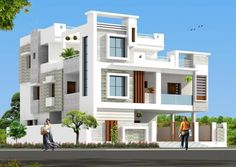 Dois vista 3 Storey House Design, Bungalow House Design, House Front Design, Small House Design, Modern House Design, House Elevation, Front Elevation, Indian House Plans, Latest House Designs