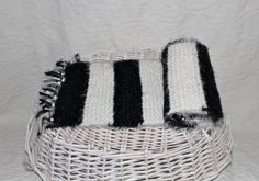 Angel Hair Hand Knit Scarf  Black and White by StitchinGalTX