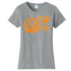 Flowers & Butterfly VW Logo Womens T-Shirt   Available Online     #VW #Volkswagen #Flowers #Butterfly #Beetle #Womens #Grey #Tshirt #Custom #Shirt #Gray #Online