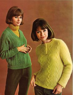 Buttercup & Sprig • 1960s Pullover Cardigan Sweater Patterns • 60s Vintage Ribbed Pockets Knitting Jumper Pattern • Retro Knit PDF by TheStarShop on Etsy