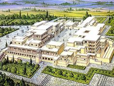 MINOAN CIVILIZATION: Palace of Minos at Knossos (reconstruction drawing),  15th Century BC.