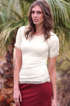 Ruched Lace Tee - Winter White