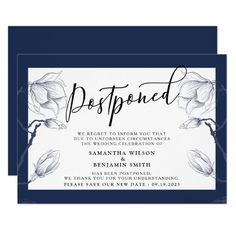 Shop Elegant Floral Navy & White Postponed Wedding Invitation created by MSJ_DESIGNS. Personalize it with photos & text or purchase as is! Wedding Invitations With Pictures, Simple Wedding Invitations, Bridal Shower Planning, Wedding Planning, Wedding Announcements, Wedding Save The Dates, Invitation Cards, Invitation Templates, Celebrity Weddings