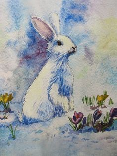 Rabbit Art White Bunny Painting Bunny Prints on by SobolevaArt