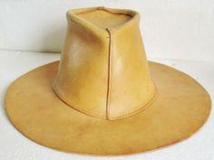 NICE Cowboy Hat Light Brown GENUINE LEATHER HAND STAINED LATIGO Sm 7 1/2 Rocker