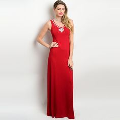 Shop The Trends Women's Sleeveless Gown with Embellished Neckline Trim